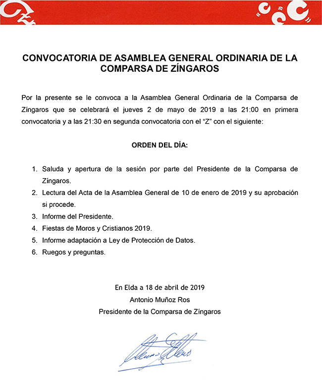 2019 noticia convocatoria asamblea general ordinaria mayo